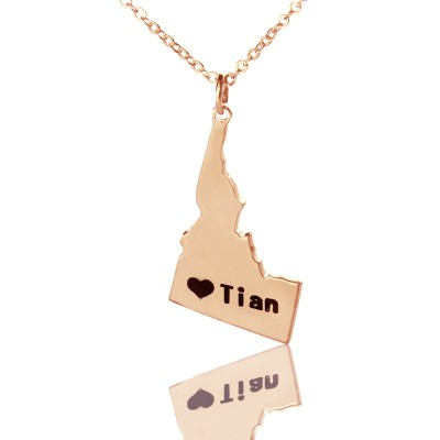 Idaho State USA Map Necklace With Heart  Name Rose Gold - Crafted By Birthstone Design™