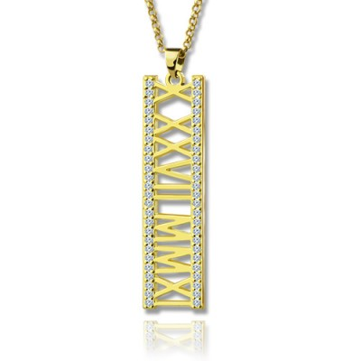 18ct Gold Plated Roman Numeral Necklace With Birthstone  - Crafted By Birthstone Design™