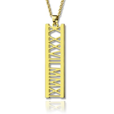 Vetical Roman Bar Necklace 18ct Gold Plated - Crafted By Birthstone Design™