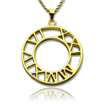 Double Circle Roman Numeral Necklace Clock Design Gold Plated Silver - Crafted By Birthstone Design™