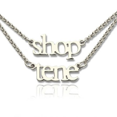 Sterling Silver Double Layer Mini Name Necklace - Crafted By Birthstone Design™