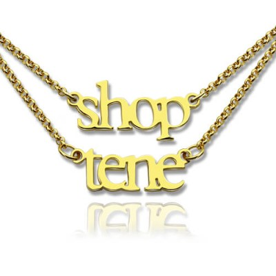 Double Layer Mini Name Necklace 18ct Gold Plated - Crafted By Birthstone Design™