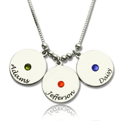 Mother's Disc and Birthstone Charm Necklace  - Crafted By Birthstone Design™