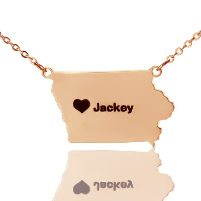 Iowa State USA Map Necklace With Heart  Name Rose Gold - Crafted By Birthstone Design™