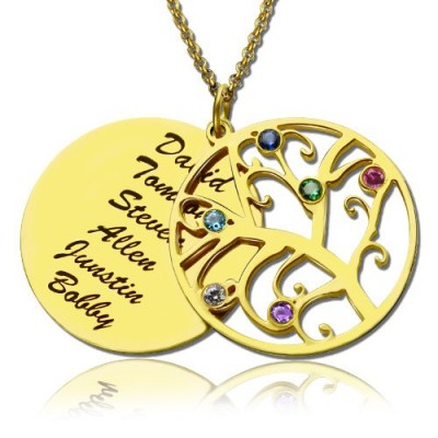 18ct Gold Plated Family Tree Birthstone Name Necklace  - Crafted By Birthstone Design™
