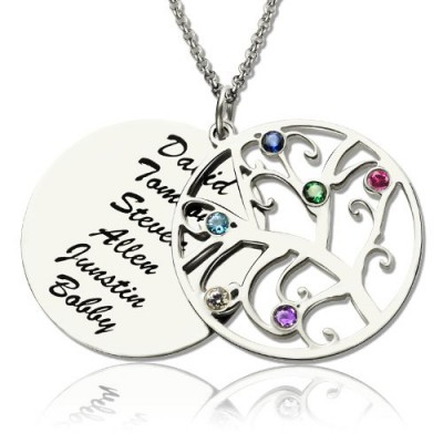 Family Tree Pendant Necklace With Birthstone Silver  - Crafted By Birthstone Design™