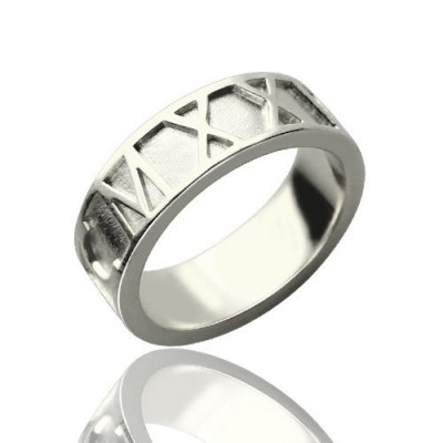 Personalised Roman Numerals Band Ring Sterling Silver - Crafted By Birthstone Design™