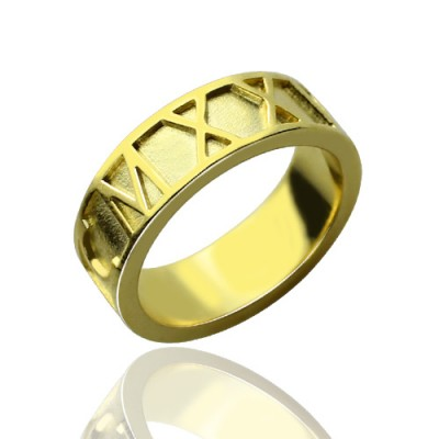 18ct Gold Plated Roman Numeral Date Rings - Crafted By Birthstone Design™