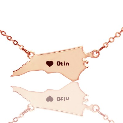 Personalised NC State USA Map Necklace With Heart  Name Rose Gold - Crafted By Birthstone Design™