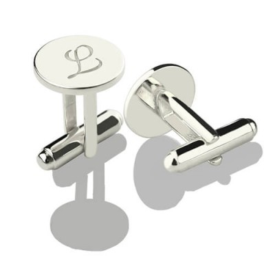 Cool Initial Cuff links Sterling Silver - Crafted By Birthstone Design™