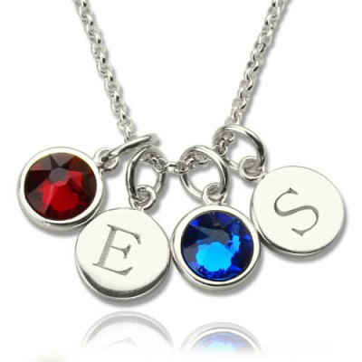 Personalised Double Initial Charm Necklace with Birthstone  - Crafted By Birthstone Design™