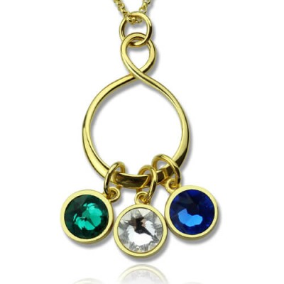 Personalised Family Infinity Necklace with Birthstones 18ct Gold Plate  - Crafted By Birthstone Design™