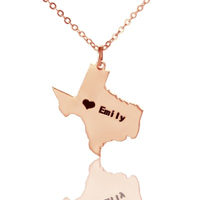 Texas State USA Map Necklace With Heart  Name Rose Gold - Crafted By Birthstone Design™