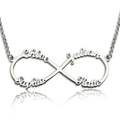 Sterling Silver Infinity Symbol Necklace 4 Names - Crafted By Birthstone Design™
