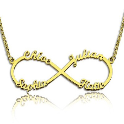 Custom 18ct Gold Plated Infinity Necklace 4 Names - Crafted By Birthstone Design™