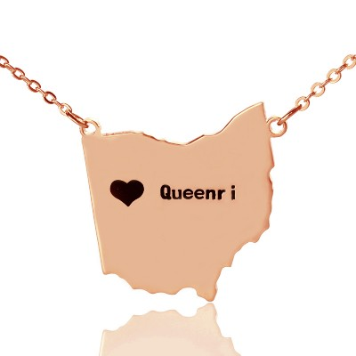 Custom Ohio State USA Map Necklace With Heart  Name Rose Gold - Crafted By Birthstone Design™