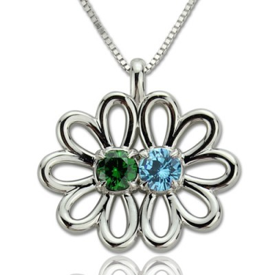 Personalised Double Flower Pendant with Birthstone Sterling Silver  - Crafted By Birthstone Design™