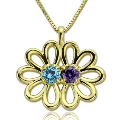 Personalised Double Flower Pendant with Birthstone 18ct Gold Plated Silver  - Crafted By Birthstone Design™