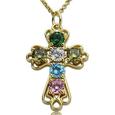 Personalised Cross necklace with Birthstones Gold Plated Silver  - Crafted By Birthstone Design™