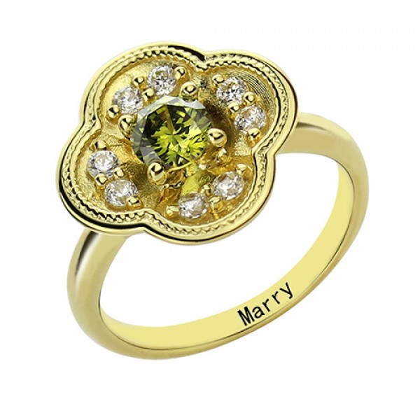 Blossoming Engagement Ring Engraved Birthstone 18ct Gold Plated  - Crafted By Birthstone Design™