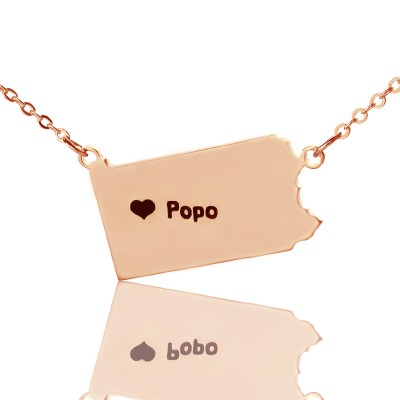 Personalised PA State USA Map Necklace With Heart  Name Rose Gold - Crafted By Birthstone Design™