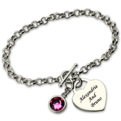 Personalised Charm Bracelet with Birthstone  Name Sterling Silver  - Crafted By Birthstone Design™