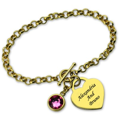 Engravable Birthstone Bracelet with Heart  Name Charm 18ct Gold Plate  - Crafted By Birthstone Design™