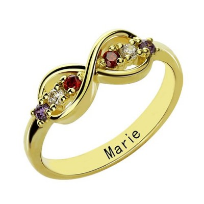 18ct Gold Plated Infinity Promise Rings with Birthstone  - Crafted By Birthstone Design™