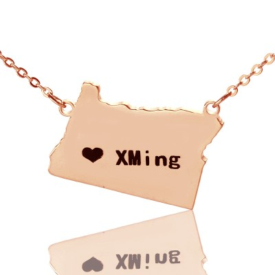 Custom Oregon State USA Map Necklace With Heart  Name Rose Gold - Crafted By Birthstone Design™