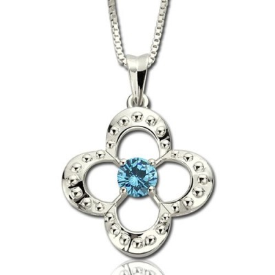 Birthstone Four Clover Good Lucky Charm Necklace Sterling Silver  - Crafted By Birthstone Design™