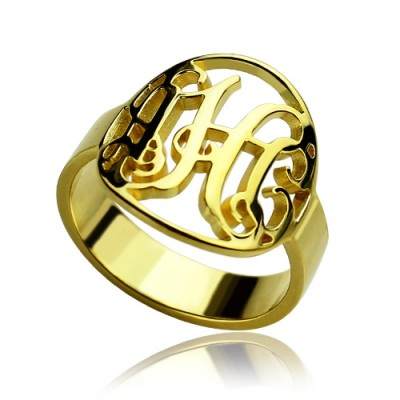 Custom Circle Cut Out Monogrammed Ring 18ct Gold Plated - Crafted By Birthstone Design™