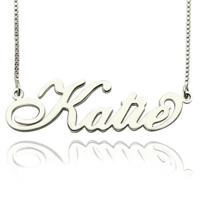 Personalised Nameplate Necklace Carrie Stering Silver - Crafted By Birthstone Design™