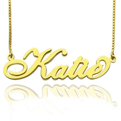 Personalised Necklace Nameplate Carrie in 18ct Gold Plated - Crafted By Birthstone Design™