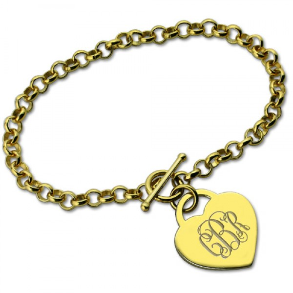 Heart Monogram Initial Charm Bracelets In 18ct Gold Plated - Crafted By Birthstone Design™