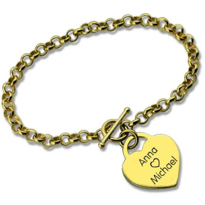 Personalised Heart Name Bracelets 18ct Gold Plated - Crafted By Birthstone Design™