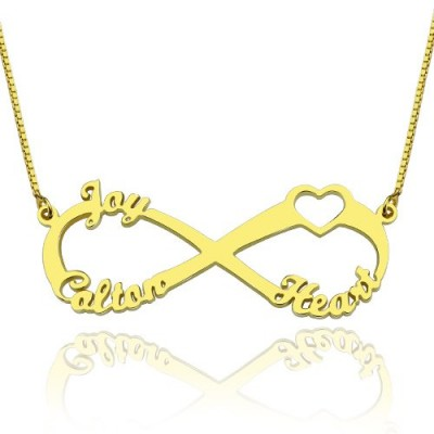 Heart Infinity Necklace 3 Names 18ct Gold Plated - Crafted By Birthstone Design™
