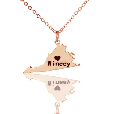 Virginia State USA Map Necklace With Heart  Name Rose Gold - Crafted By Birthstone Design™