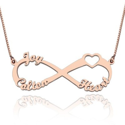 Heart Infinity Necklace 3 Names 18ct Rose Gold Plated - Crafted By Birthstone Design™