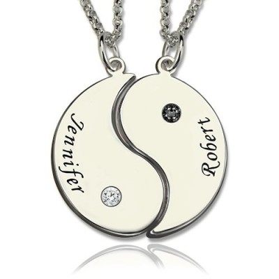 Gifts for Him  Her - Yin Yang Necklace Set with Name  Birthstone  - Crafted By Birthstone Design™