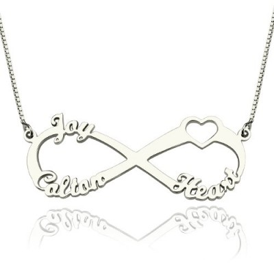 Heart Infinity Necklace 3 Names Sterling Silver - Crafted By Birthstone Design™