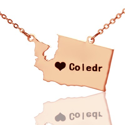 Washington State USA Map Necklace With Heart  Name Rose Gold - Crafted By Birthstone Design™