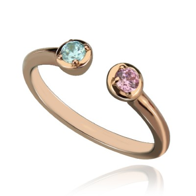 Dual Birthstone Ring 18ct Rose Gold Plated Silver  - Crafted By Birthstone Design™