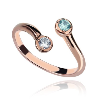 Dual Drops Birthstone Ring 18ct Rose Gold Plated  - Crafted By Birthstone Design™