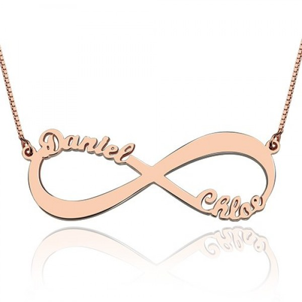 18ct Rose Gold Plated Double Name Infinity Necklace - Crafted By Birthstone Design™