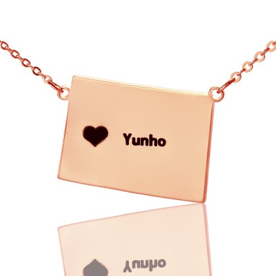 Wyoming State Shaped Map Necklaces With Heart  Name Rose Gold - Crafted By Birthstone Design™