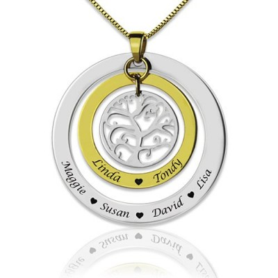 Grandma Family Tree Names Necklace - Crafted By Birthstone Design™