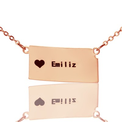 Custom Kansas State Shaped Necklaces With Heart  Name Rose Gold - Crafted By Birthstone Design™