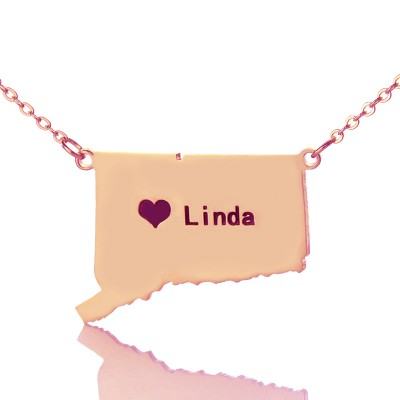 Connecticut Connecticut State Shaped Necklaces With Heart  Name Rose Gold - Crafted By Birthstone Design™