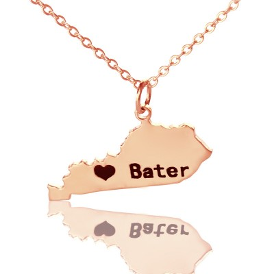 Custom Kentucky State Shaped Necklaces With Heart  Name Rose Gold - Crafted By Birthstone Design™