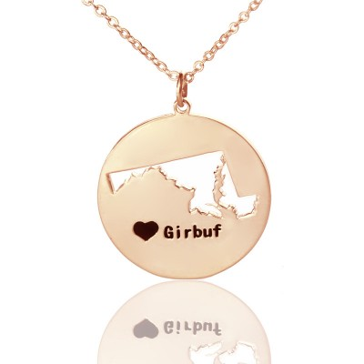 Custom Maryland Disc State Necklaces With Heart  Name Rose Gold - Crafted By Birthstone Design™